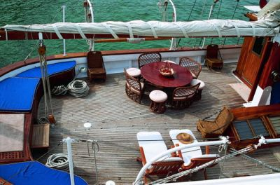 Cockpit, Luxury Motor Sailer for Charter in Greece and Mediterranean