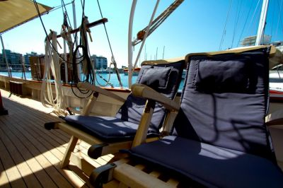 Deck, Luxury Motor Sailer for Charter in Greece and Mediterranean